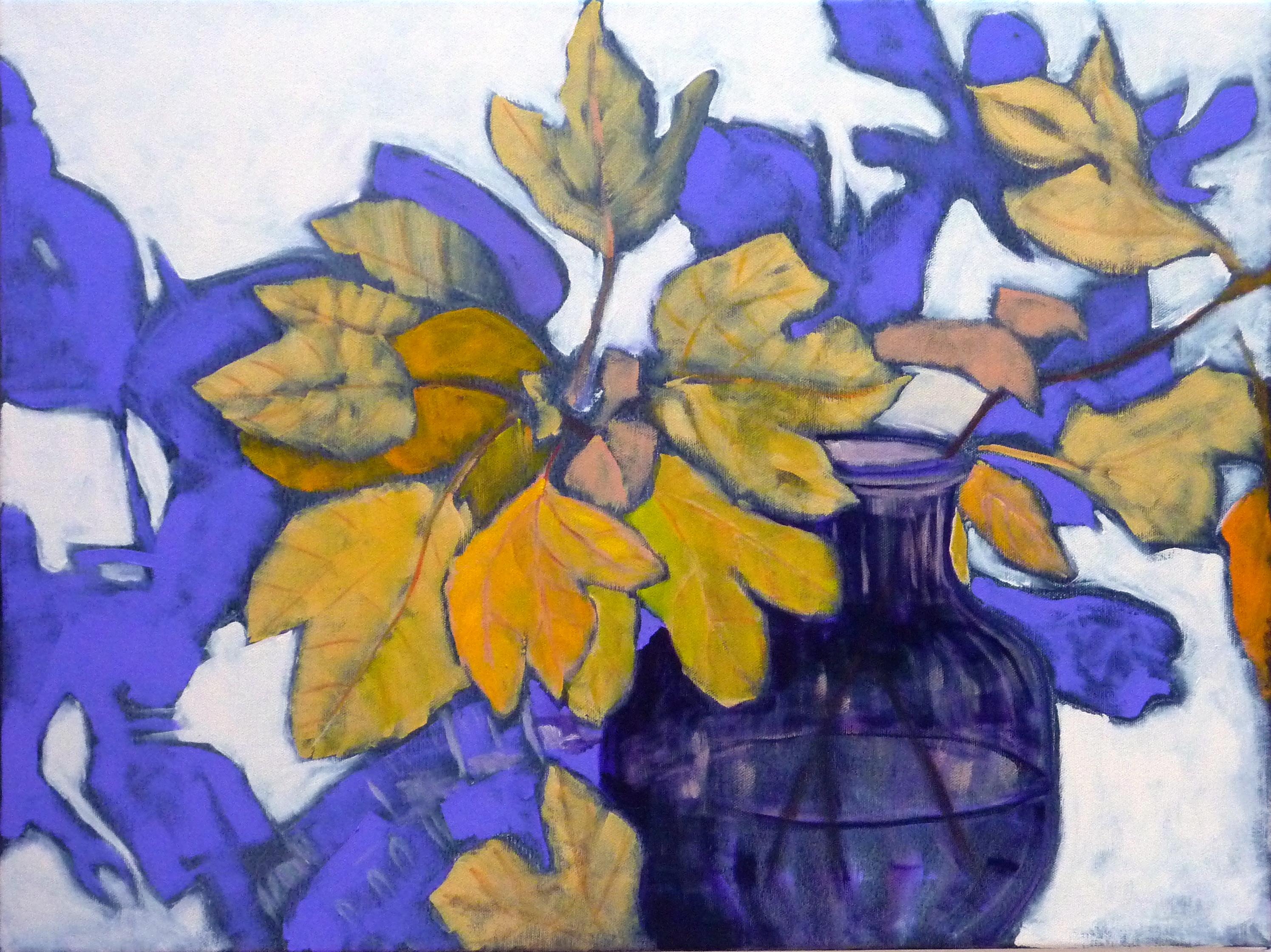 Autumn Leaves in Glass Vase